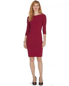 Instantly Slimming dress keeps its curvy secret under wraps—built-in shapewear under tiers of silky-soft stretch jersey knit. Narrow below the bateau neckline, velvety matte jersey tiers flow asymmetrically as they reach the hem, shaping curves along the way.