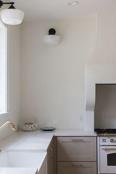 Kitchen Progress: Heights House | Jenna Sue Design Blog Stone Benchtop, Jenna Sue, Calacatta Gold, June 19, Valspar, French Oak, Window Film, Metal Fabrication, Travel Inspiration