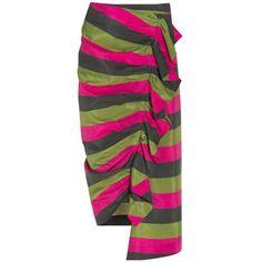 Isa Arfen Striped Pencil Skirt ($844) ❤ liked on Polyvore featuring skirts, multi, flounce skirt, stripe pencil skirt, side slit pencil skirt, ruffle skirt and stripe midi skirt