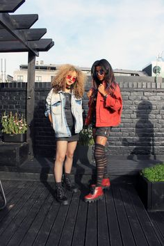 c8d09c68e0d47 Nova Twins in the Underground Dogstar Jungle Boots in Black and Cherry  Leather on the Underground London Showroom roof terrace