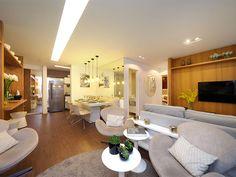 Integração entre sala de jantar e sala de estar, em apartamento de 53m² na Vila Prudente em São Paulo.