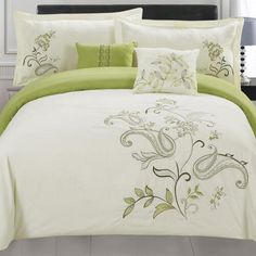Shop for RT Designers Collection Jordana Oversized Embroidered King Size Comforter Set. Get free delivery On EVERYTHING* Overstock - Your Online Fashion Bedding Store! Get in rewards with Club O! Furniture, Comforter Sets, Comforters, Embroidered Bedding, King Comforter Sets, Bed, Bedding Stores, Bedding Sets, King Size Comforter Sets