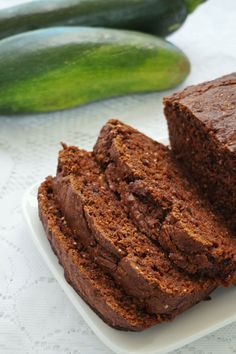 Zucchini cake (quick bread) made with apple sauce and chia seeds instead of eggs!