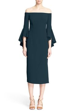 Free shipping and returns on Milly 'Selena' Off the Shoulder Midi Dress at Nordstrom.com. The tailored column silhouette and clean, off-the-shoulder neckline on this vibrant stretch sheath balance dramatically ruffled asymmetrical sleeves.