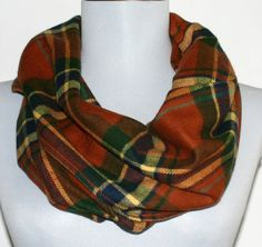 Infinity Scarf in Rust and Green Autumn Plaid Flannel