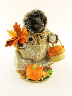 "2013 Artist Janie Comito OOAK~ Wee Mary~ Hedgehog Lady~ Thanksgiving-  She is Janie's final autumn piece for 2013.    She stands 5 3/4"" including her wooden stand. She is three way jointed: head & arms. Her & arms & body are made from vintage upholstery velvet. The body is wire armatured as are the arms. Her head is created from a tipped mohair plush.  Her eyes are bright onyx beads, & face is needle sculpted, trimmed & hand tinted with fabric paint to impart a life like quality."
