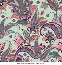 Vintage flowers seamless paisley pattern. Wrapping print. Stylized decoration wallpaper of India. Floral ornament, for fabric, textile
