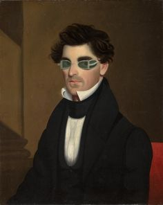 """Portrait of Nathaniel Olds, 1837 by Jeptha Homer Wade (American 1811-1890) -(Cleveland Museum of Art, Cleveland ) - From the curators' comments: """"The green-tinted spectacles worn by Olds were designed to protect the eyes from the intensity of Argand lamps, a type of indoor light used during the early 1800s. These lamps burned whale oil, and many people worried that its bright flames might damage eyesight."""""""