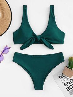 Shop Knot Front Top With High Leg Bikini Set online. SHEIN offers Knot Front Top With High Leg Bikini Set & more to fit your fashionable needs. Trendy Swimwear, Cute Swimsuits, Bikini Swimwear, Women's Bikinis, Bandeau Bikini, Thong Bikini, Cut Out Bikini, High Leg Bikini, Bikinis Tumblr