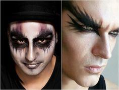 maquillage Halloween yeux homme décodés de fard noir