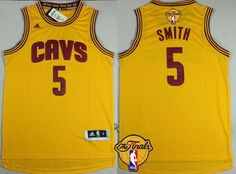 Men's Cleveland Cavaliers #5 J.R. Smith 2017 The NBA Finals Patch Yellow Jersey