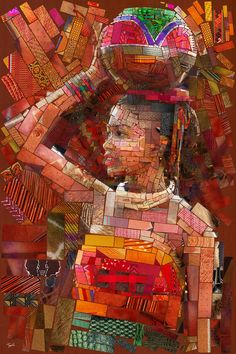 The kind of exclusive collage portrait art works we are going to be depicting here will have a theme within a theme. L'art Du Portrait, Collage Portrait, Collage Kunst, Afrique Art, Brick Art, Girl In Water, Mosaic Artwork, African American Art, African Girl