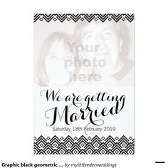 Graphic black geometric photo wedding invitation by www.mylittleeden.com #wearegettingmarried #weddinginvite #photoweddinginvite #custominvitation