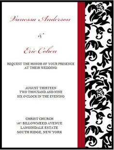 Elegant Black,Red and White Wedding Invitation. by Amy Leiter