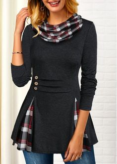 Women'S Black Plaid Print Long Sleeve Tunic T Shirt Cowl Neck Casual Top By Rosewe Button Detail Plaid Print Long Sleeve T Shirt Trendy Tops For Women, Stylish Tops, Plaid Outfits, Fashion Outfits, Trendy Fashion, Long Sleeve Tunic, Pulls, Tartan, Look