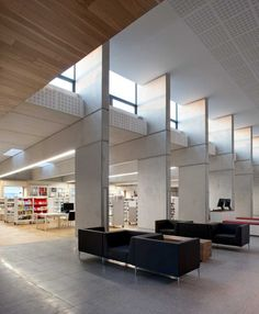 This new internal street is a place to gather, check in or out a book, reading, gathering and to allow unrestricted access to information in a range formats and sources. Box Architecture, Architecture Foundation, Open House, Building, Dublin, Furniture, Concrete, Range, Interiors