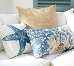 Painted Blue Coastal Indoor/Outdoor Lumbar Pillow   Pottery Barn
