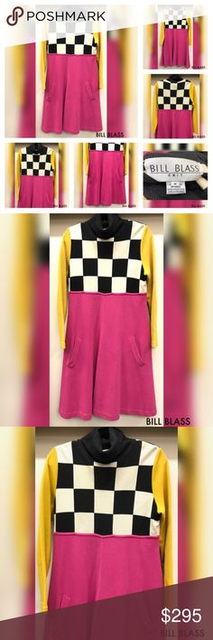"POSHMARK BILL BLASS Pop Art Turtle Neck 80's Dress Turtle neck vintage dress by Bill Blass Size M. There is no fabric content, so I will guess it is either a cotton or wool blend heavy knit fabric. It is in very good condition. The checkerboard measures about 13"" from shoulder, the hot pink part is about 27.5""'. Yellow sleeves measures about 24"". Please check all my photos and comment below with your questions. Bill Blass Dresses"