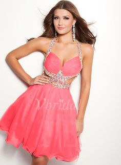 Prom Dresses - $136.78 - A-Line/Princess Halter Knee-Length 30D Chiffon Prom Dress With Ruffle Beading (0185059413)