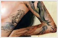 I really want a ship tat like this. I love how artistic it is and how the water fades
