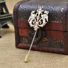 Fashion men lapel pin vintage Insert Alloy double suit boutonniere lion metal brooch pins Plated Corsage men wedding brooches(China (Mainland))