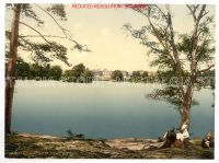 CAMBERELEY- Set of 4 Victorian Colour Images circa 1895 for download   1.~ Royal Military College, Sandhurst, Camberley   2 ~ Royal Military College, cricket grounds, Sandhurst, Camberley, England   3.~ Boating and fishing, Camberley, England   4 ~ Bagshot Road, Camberley, England