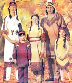 Native American Costume Sewing Pattern McCalls 7765 Boys Girls Indian Costume Fringed Top Pants or Dress Chest 21 - 30 Uncut