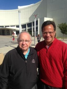 Coach Tom Crean and Hall of Fame College Football Coach Earle Bruce in front of Cook Hall on Saturday.