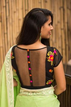 Wowsie! Our ever so popular sheer back style, now in a wonderous black floral georgette. This blouse speaks for itself…need we say more? Pick a saree in any one of the floral colours and be ever so luscious!