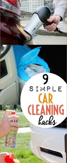 Car Cleaning Hacks to Save You Time. Tips and tricks to cleaning the interior and exterior of your car. Keep your car clean and organized with these awesome hacks. Take stickers off your bumper, clean your vents easily and make your owner friendly garbage can.