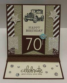 Create with Seongsook: Happy Birthday Easel Card 21st Birthday Cards, Vintage Birthday Cards, Masculine Birthday Cards, Bday Cards, Happy Birthday Greetings, Handmade Birthday Cards, Masculine Cards, 70 Birthday, Male Birthday