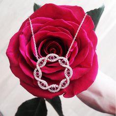 Precious Pink Stones!  Shop www.amorium.com Now!  #pink #ivy #necklace #amorium #jewelry #silver #sterling #delicate #beautiful #rose #precious #stones