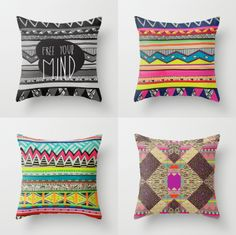through pillows vasare aztec tribal design TUMBLR Hipster trned textile deny designs society6 creative kaleidoscopic decor gift x-mas