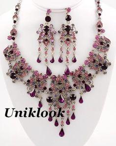 Exquisite Antique Silver & Purple Dazzling Crystals Elegant Jewelry Necklace Set