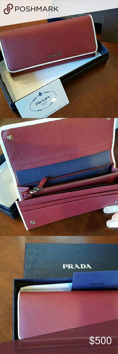 Prada wallet Burgundy wallet. New in box. I received it as a gift and have not used it. It retails for 700 dollars Prada Bags Wallets