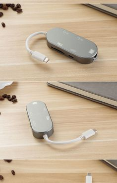 """Input: 14.5V, 1.5A Output: 5V, 1.5A Reverse charging: 14.5V, 1.5A for Macbook. 1 USB 3.1C male port to 2 USB 3.0 ports + 1 SD card slot + 1 USB 3.1C female port + 1 RJ45 1000mbps. 14.5V 5-in-1 USB-C HUB CHARGER, which can connect usb-c cable & wall plug to charge your MacBook and its external devices automatically and simultaneously. Charge your Macbook in under 2 hours. Compatible with Macbook 12"""", Nokia N1 tablet and future 3.1C products. sales05@aslan-china.com"""