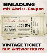Vintage Einladungskarten zur Hochzeit • Eintrittskarte • Ticket • Einladung
