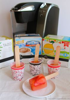 Strawberry Lemonade Pops made with a Keurig machine- delightful summer treat! by www.whatscookingwiithruthie.com #summer #recipe