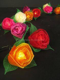 COLOURFUL MIX Large Rose Flower Natural Leaf Skeleton L...