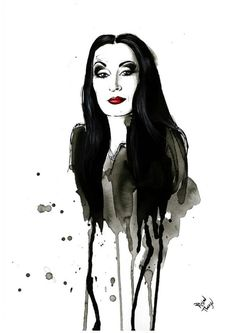 Morticia Addams (Anjelica Huston) from The Addams Family by Therese Rosier https://www.facebook.com/ThereseRosierArt