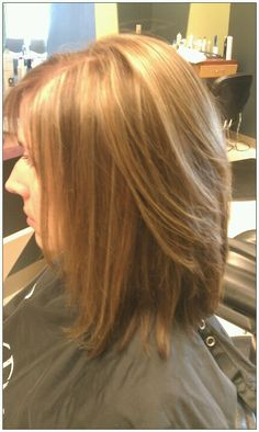mocha caramel color with honey high lights and long bob cut with light blended layers #cut #color