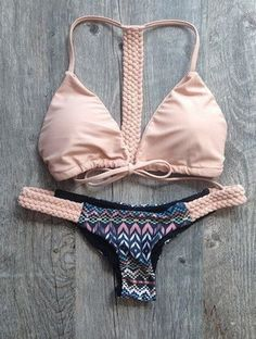 Pink Aztec Print Swimsuit Swimwear Bikini Set