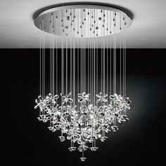 Chrome cascading LED and crystal multi-drop pendant for indirect lighting. A great fitting from Lighting Styles. Led Pendant Lights, Modern Pendant Light, Ceiling Pendant, Ceiling Lights, Crystal Pendant, Buy Chandelier, Antique Chandelier, Chandelier Lighting, Luminous Colours