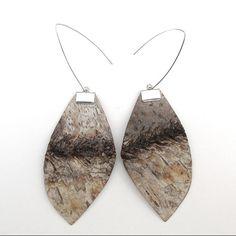 Large birch bark earrings Foliar by bettula on Etsy, $32.00