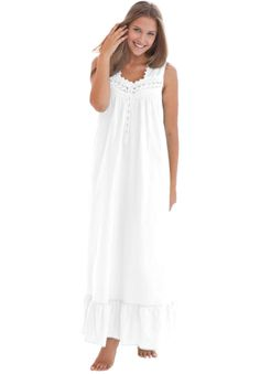 Sleeveless long woven night gown by Dreams & Co ®