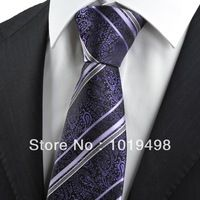 men ties high quality free shipping 5pcs New Purple Paisley Striped JACQUARD WOVEN Men's Tie Necktie, Width 8.5cm can mix order .