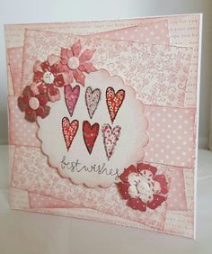 Card made using Rosa papers and flowers with Floral Prints topper.
