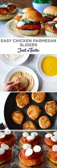 Easy Chicken Parmesan Sliders #recipe from justataste.com #chicken