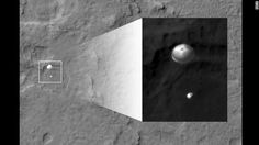 NASA's Curiosity rover and its parachute were spotted by NASA's Mars Reconnaissance Orbiter as Curiosity descended to the surface on Sunday. Most exciting!!