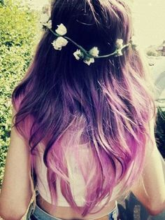 Cool Ombre Hair Color Summer 2015 A brilliant rich sheen and sexy curls make the long hair super luscious and… Ombré Hair, Dye My Hair, Her Hair, Hair Band, Wave Hair, Ombre Hair Color, Purple Hair, Purple Ombre, Hair Colors